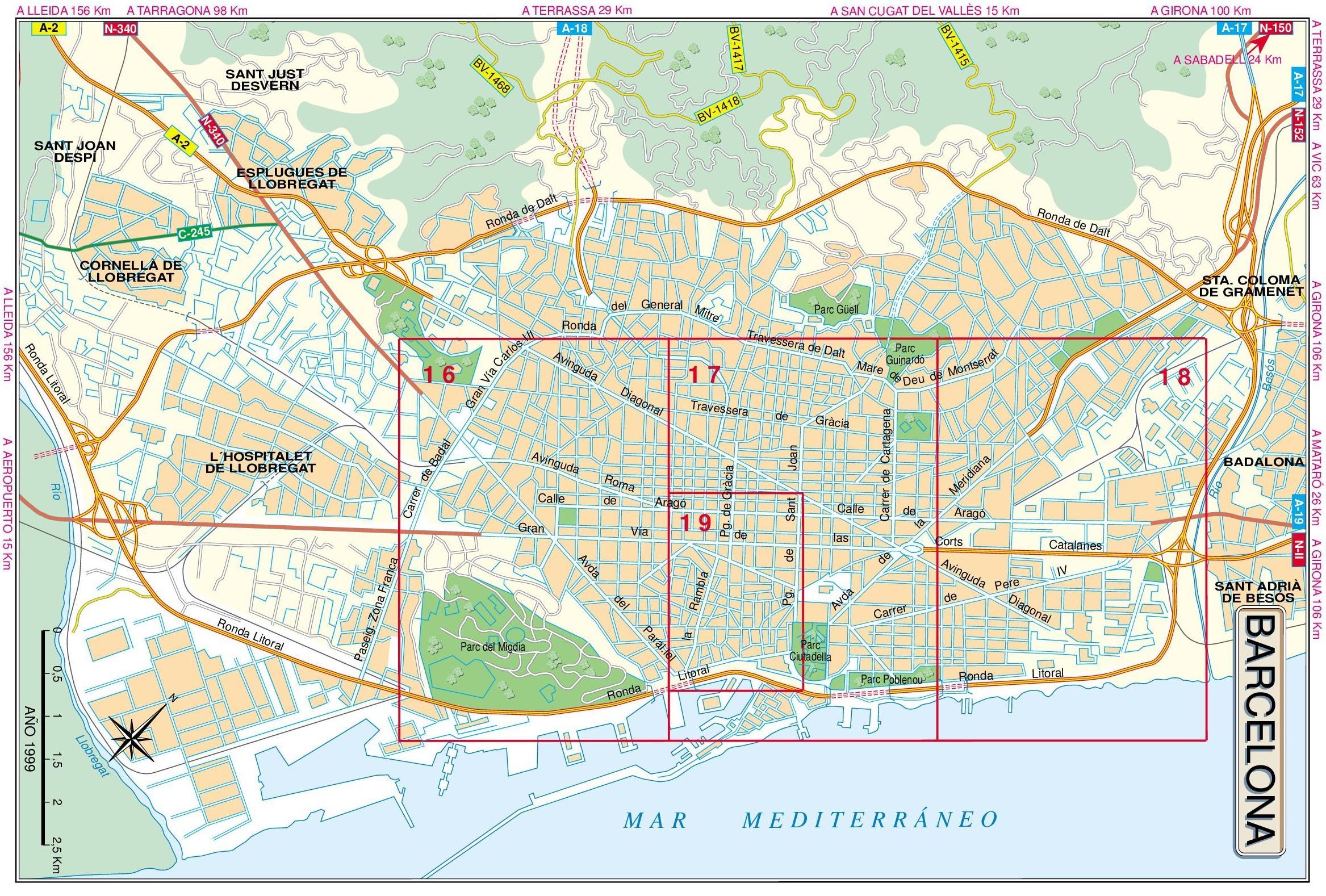 Cartina Metro Barcellona.Barcellona Mappa Stradale Mappa Di Barcellona Strada Catalogna Spagna