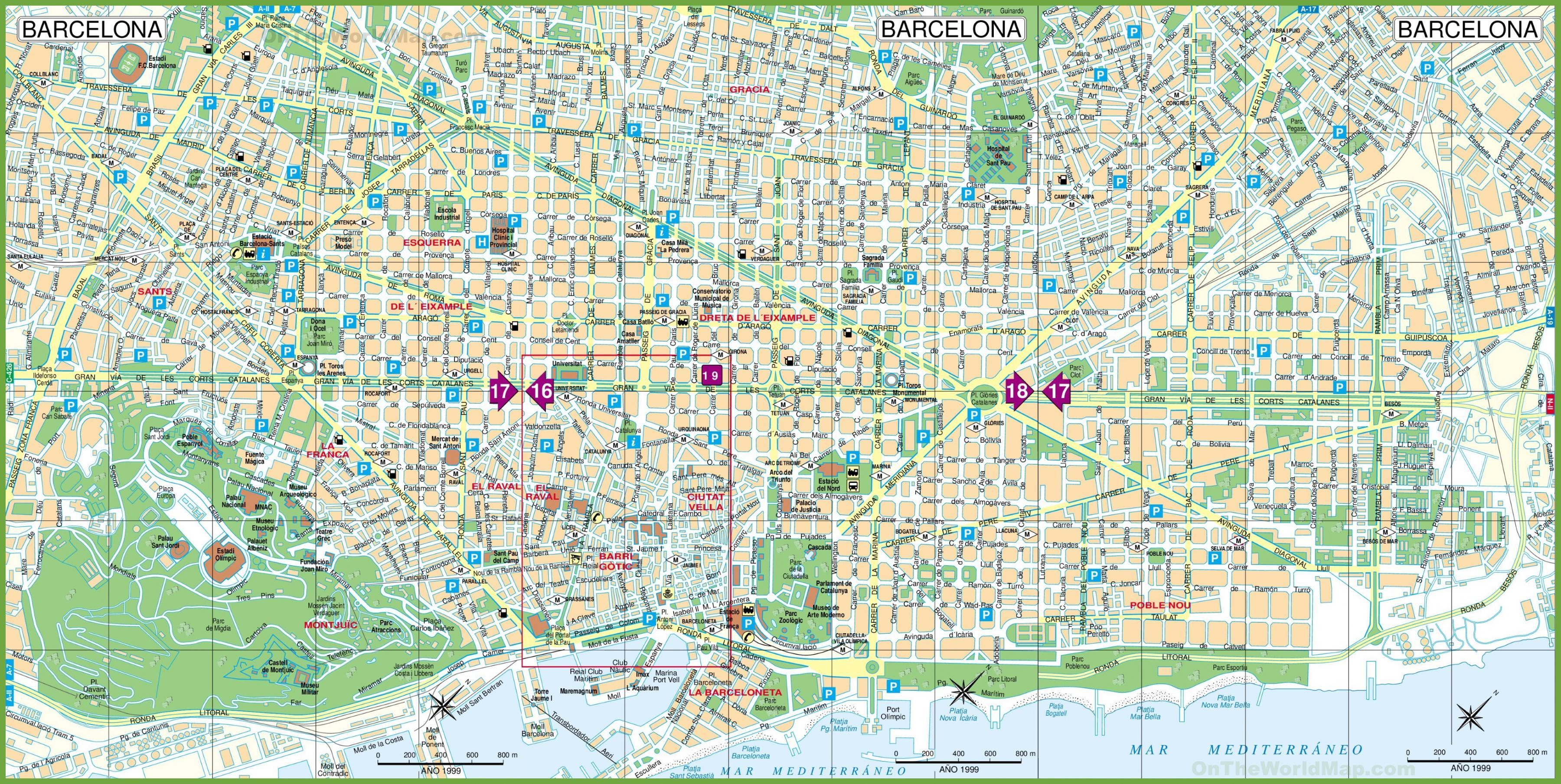 Cartina Metro Barcellona.Barcellona Mappa Cartina Di Barcellona Catalogna Spagna
