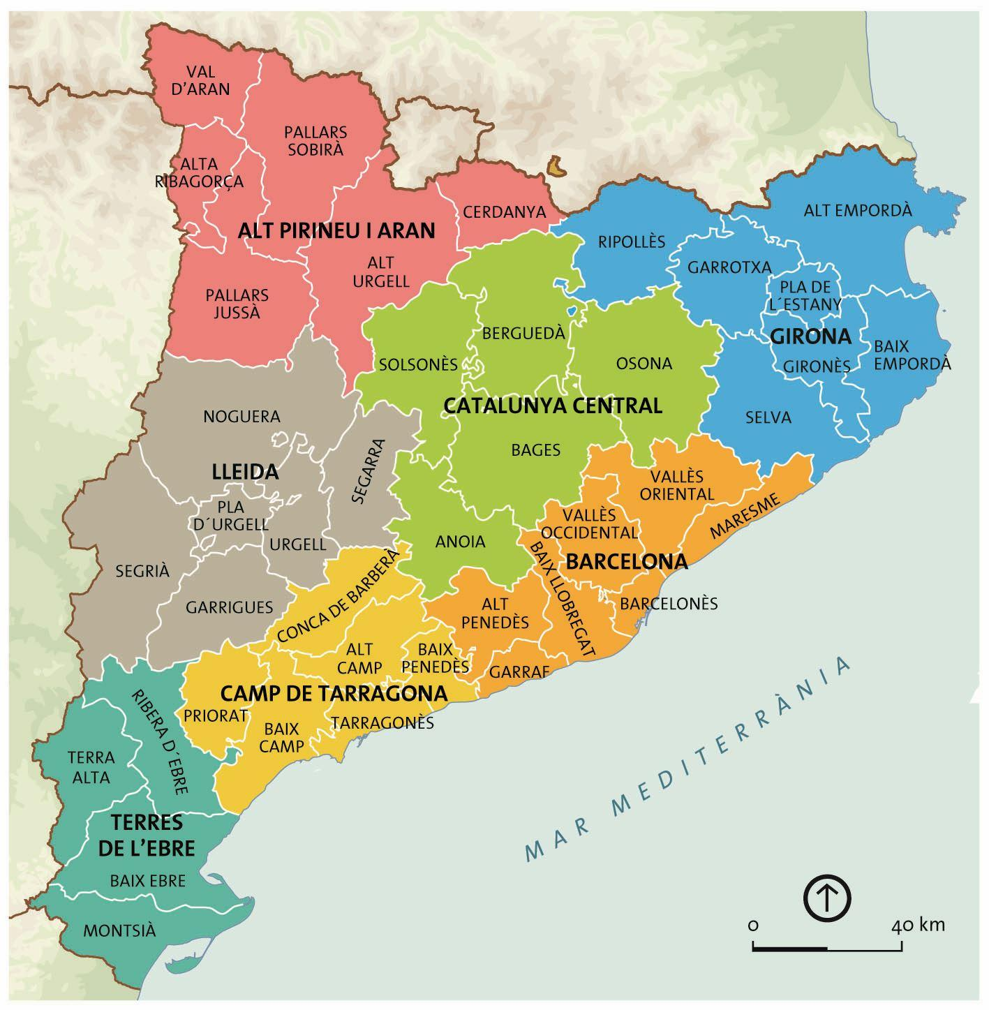 Cartina Catalogna.Catalunya Di Barcellona Mappa Mappa Di Catalunya Di Barcellona Catalogna Spagna