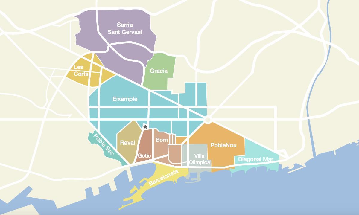 Cartina Quartieri Barcellona.Quartieri Di Barcellona Mappa Cartina Di Barcellona Spagna Quartieri Catalogna Spagna