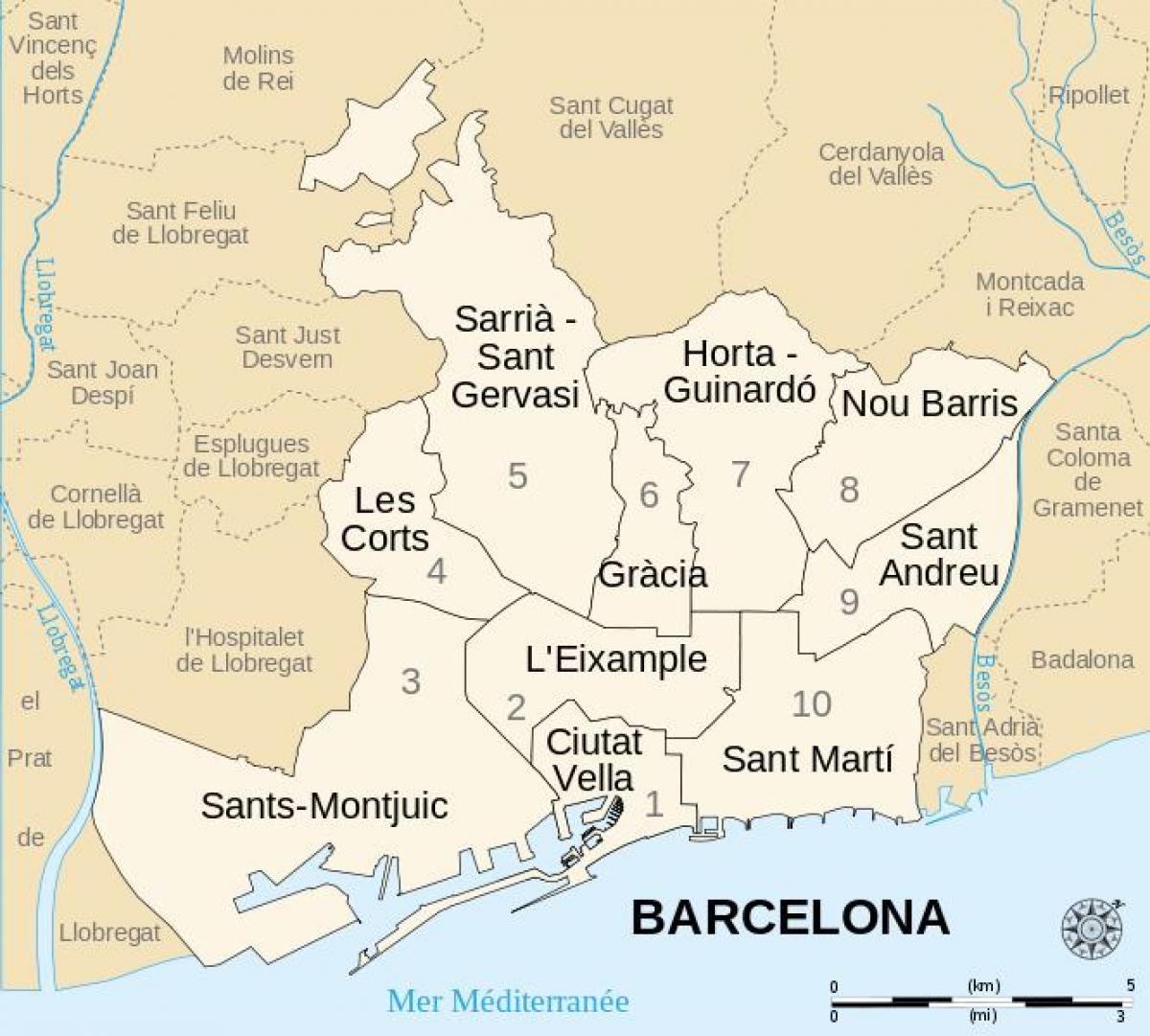 Cartina Quartieri Barcellona.Barcellona Distretti Mappa Cartina Di Barcellona Distretti Spagna Catalogna Spagna