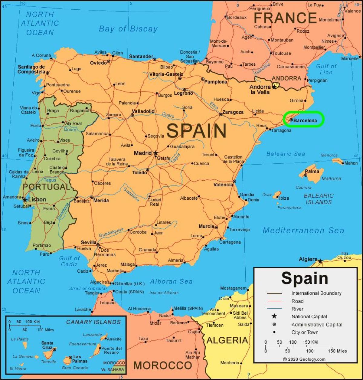 Cartina Spagna Orientale.Barcellona Mappa Cartina Di Barcellona Sulla Mappa Catalogna Spagna